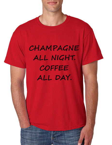 Men's T Shirt Champagne All Night Coffee All Day Cool Party Tee - ALLNTRENDSHOP - 2