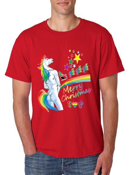 Men's T Shirt Unicorn Rainbow Gay Pride Ugly Christmas Sweater - ALLNTRENDSHOP - 3