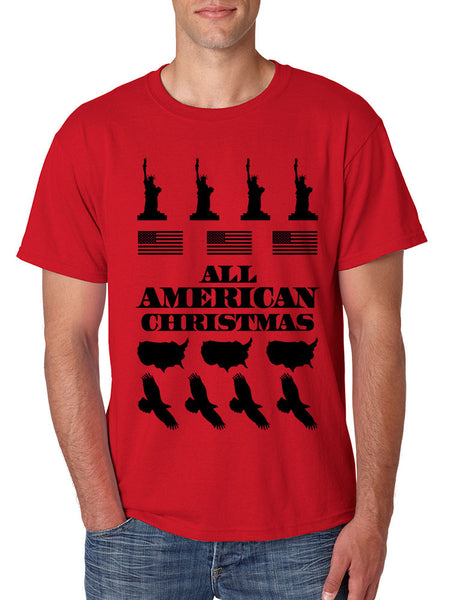 Men's T Shirt Merry American Christmas Ugly Sweater Love USA - ALLNTRENDSHOP - 2