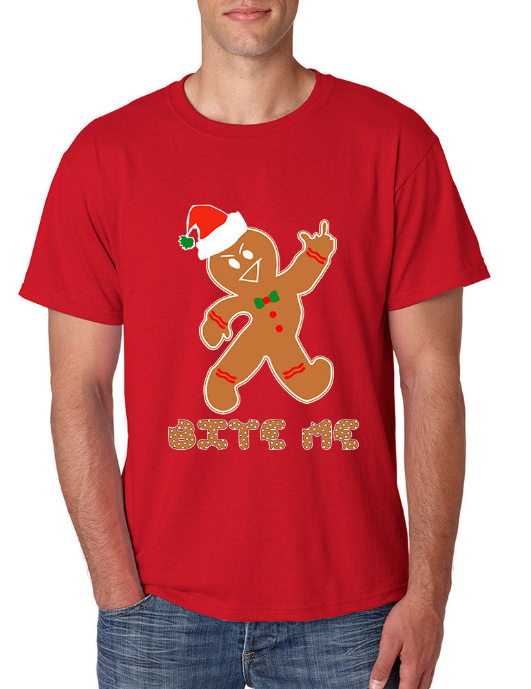 Men's T Shirt Bite Me Gingerbread Ugly Christmas Funny Gift Cool Tee - ALLNTRENDSHOP - 1