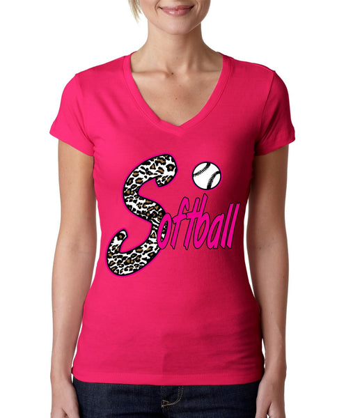 Softball White Leopard cheetah women's sporty V - ALLNTRENDSHOP - 3