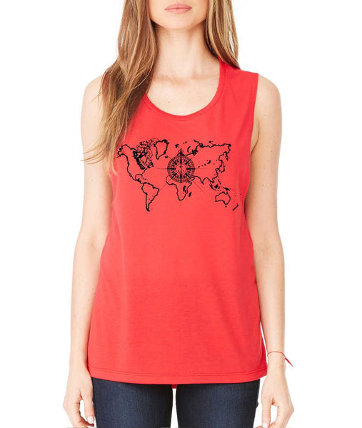 Women's Flowy Muscle Top World Map Compass Cool Tank - ALLNTRENDSHOP - 3