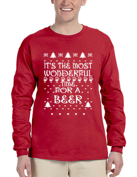Men's Long Sleeve It's Most Wonderful Time for Beer Ugly Sweater - ALLNTRENDSHOP - 2