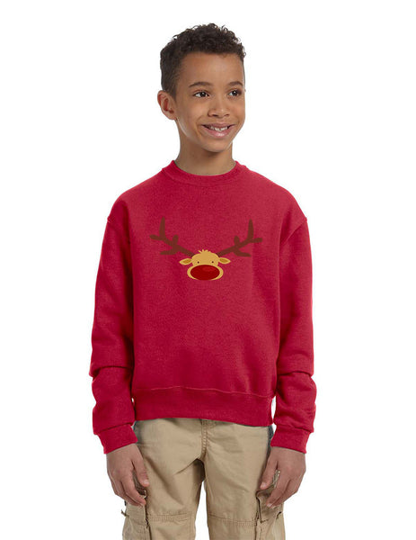 Kids Crewneck Reindeer Face Christmas Gift Cool Xmas Top