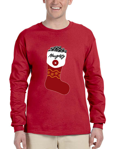 Men's Long Sleeve Naughty Xmas Ugly Socks Graphic Cool Holiday Gift