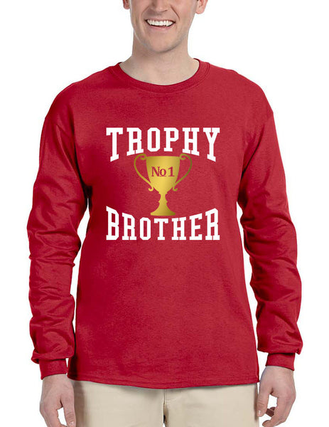 Men's Long Sleeve Trophy Brother Love Family Gift Graphic Tee - ALLNTRENDSHOP - 5
