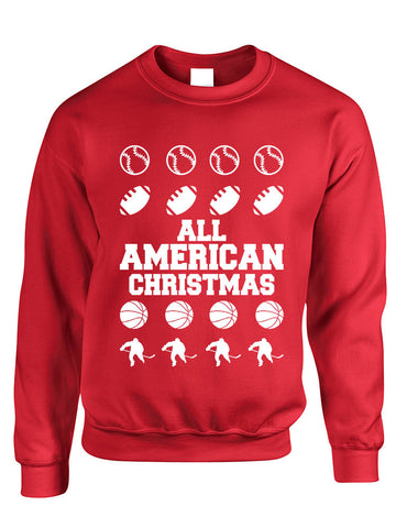 Adult Crewneck All American Christmas Love Sport Holiday Top - ALLNTRENDSHOP - 1