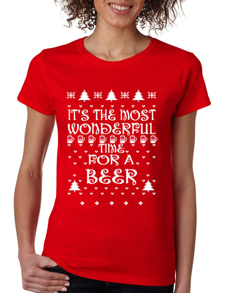 Women's T Shirt It's Most Wonderful Time for Beer Ugly Xmas Shirt - ALLNTRENDSHOP - 3