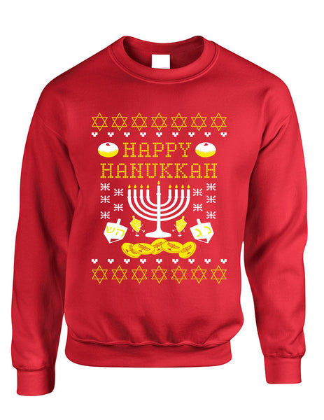 Adult Crewneck Happy Hanukkah Jewish Menorah Ugly Sweater - ALLNTRENDSHOP - 3