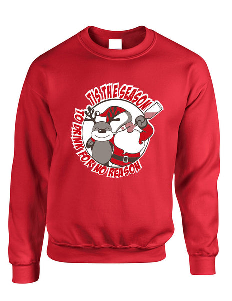 Adult Sweatshirt Tis The Season Drink No Reason Ugly Xmas - ALLNTRENDSHOP - 3