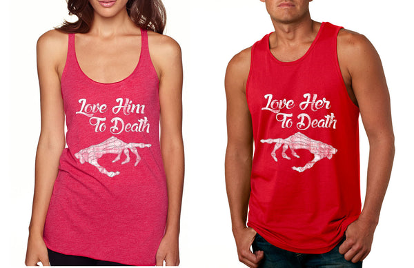 Love her Love him to death Couple Tanktops Valentines day - ALLNTRENDSHOP - 3