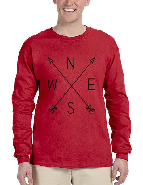 Men's Long Sleeve Compass Arrow Crossed Cool Graphic Top NWSE - ALLNTRENDSHOP - 3