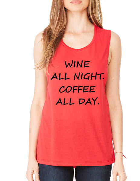 Women's Flowy Muscle Top Wine All Night Coffee All Day Drunk - ALLNTRENDSHOP - 6