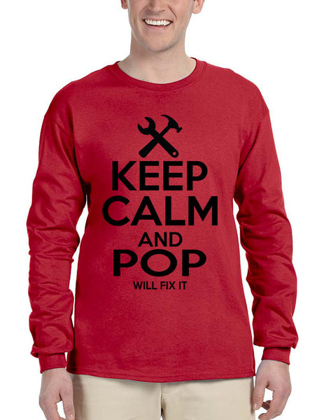 Men's Long Sleeve Keep Calm And Pop Will Fix It Grandpa Holiday Tee - ALLNTRENDSHOP - 3