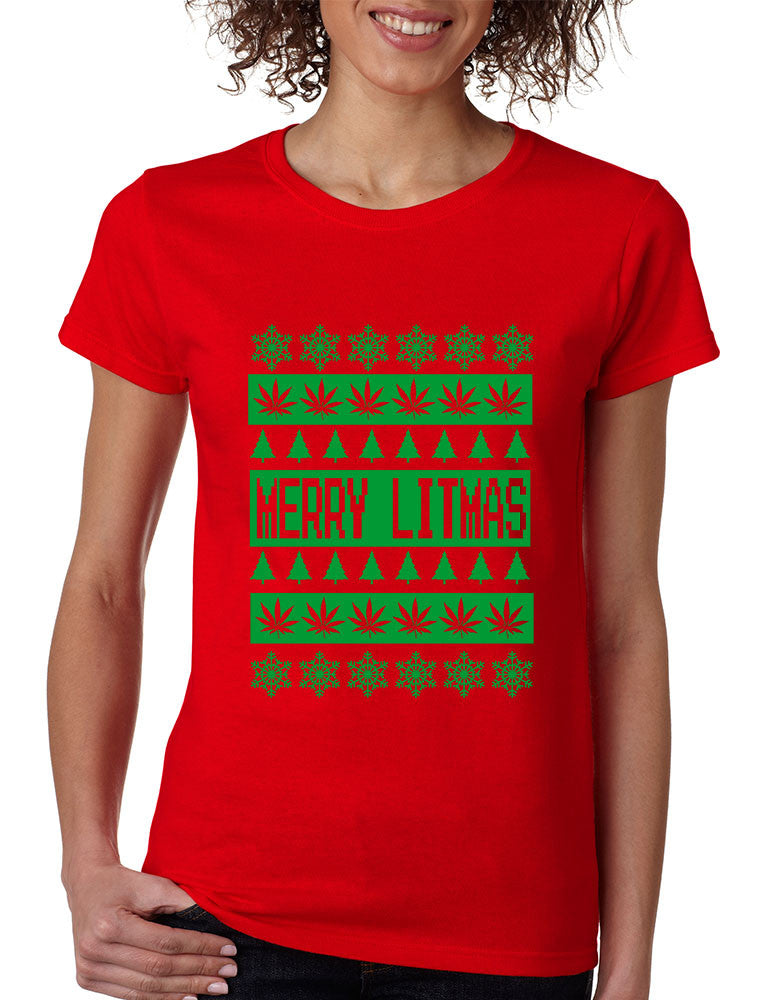 Merry Litmass green womens T-Shirt - ALLNTRENDSHOP - 1