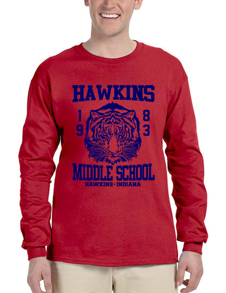 Men's Long Sleeve Hawkins Middle School 1983 Tigers - ALLNTRENDSHOP - 3