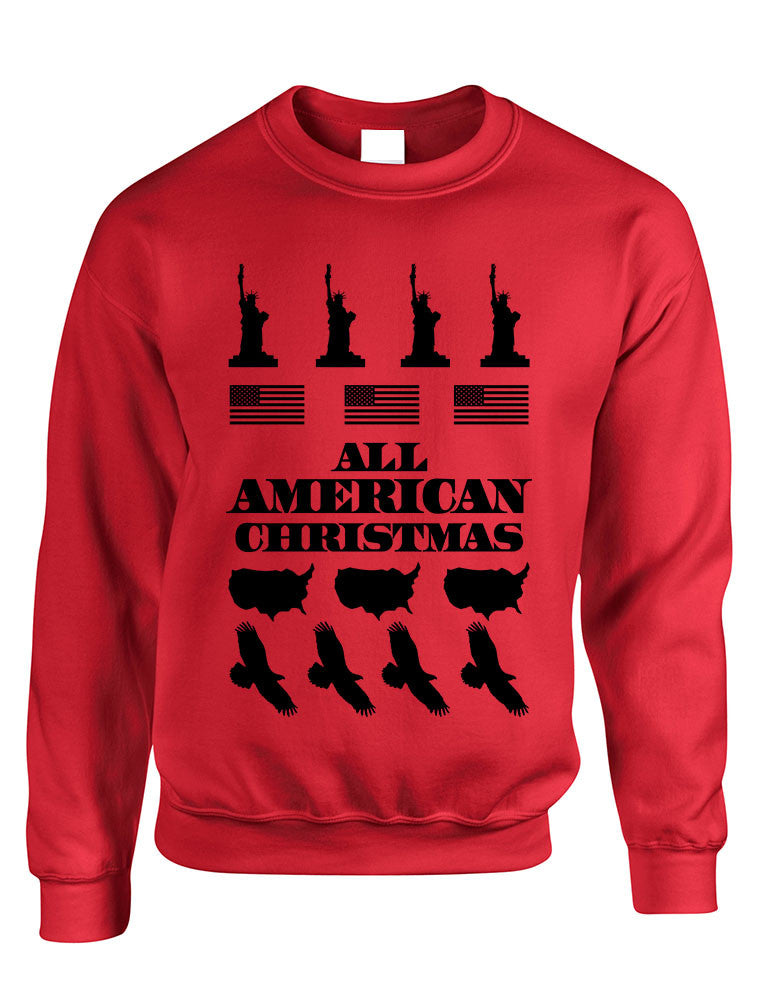 Adult Crewneck American Christmas Ugly Sweater Love USA Top - ALLNTRENDSHOP - 1