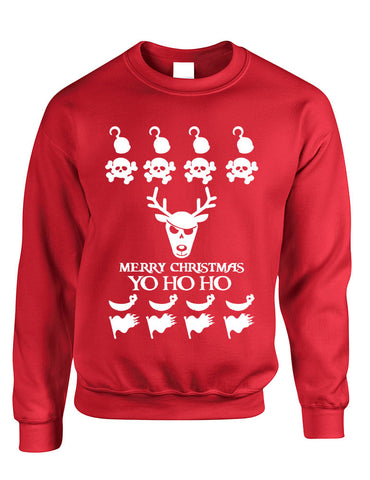 Adult Crewneck Yo Ho Ho Cool Ugly Christmas Sweater Holiday Gift - ALLNTRENDSHOP - 1