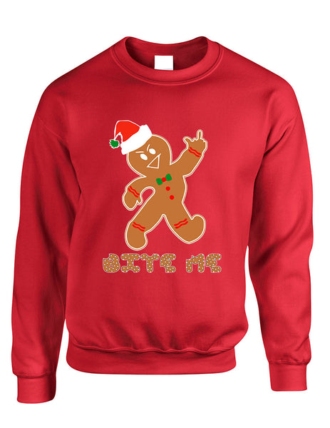 Adult Sweatshirt Bite Me Gingerbread Ugly Christmas Funny Top - ALLNTRENDSHOP - 2