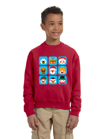 Kids Crewneck Christmas Icons Cute Holiday Symbols Top - ALLNTRENDSHOP - 1