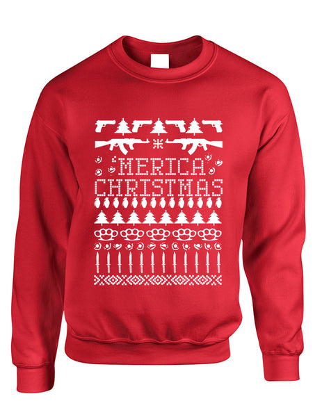Adult Crewneck 'merica Ugly Christmas Sweater Love USA Holiday - ALLNTRENDSHOP - 1