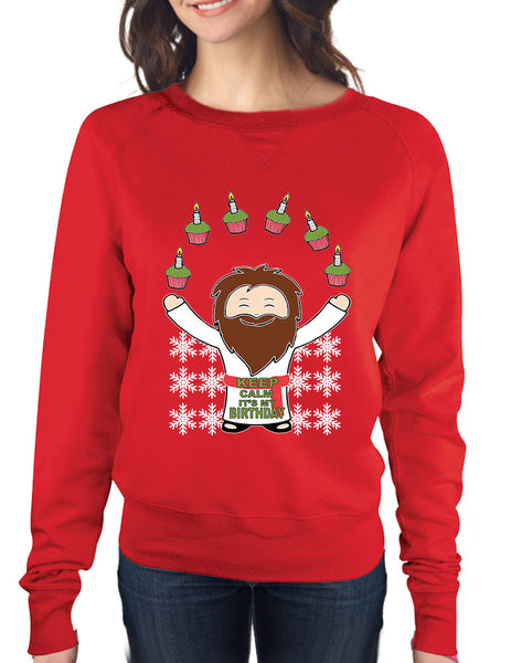 happy birthday Jesus Women's long sleeve Pullover - ALLNTRENDSHOP