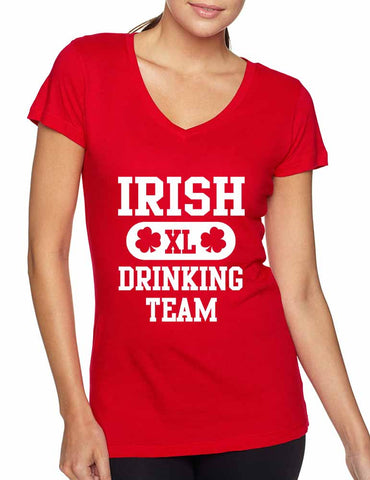 Irish drinking team women Sporty V Shirt  saint patricks day - ALLNTRENDSHOP - 1