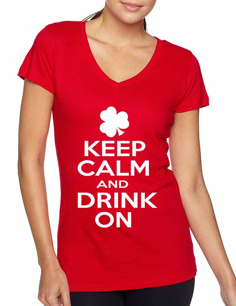 Keep calm and drink on Women V Shirt saint patricks day - ALLNTRENDSHOP - 3
