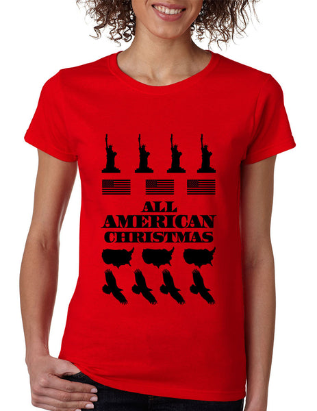 Women's T Shirt Merry American Christmas Ugly Sweater USA Top - ALLNTRENDSHOP - 2