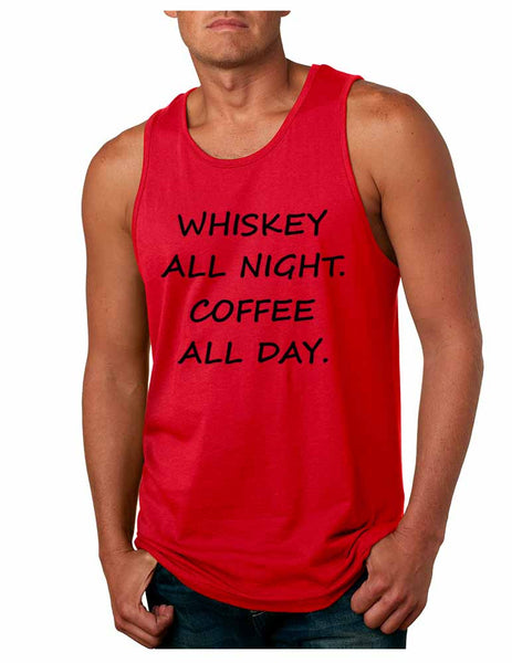 Men's Tank Top Whiskey All Night Coffee All Day Party Funny Top - ALLNTRENDSHOP - 3