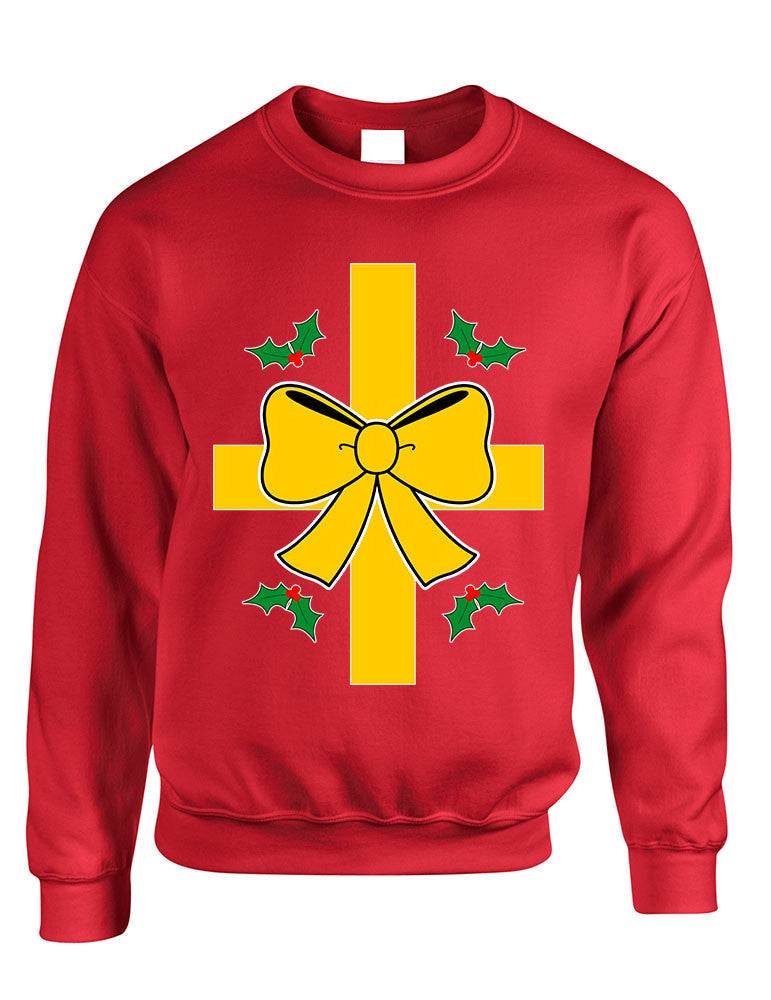 Adult Sweatshirt Christmas Gift Wrap Ugly Xmas Sweater Funny - ALLNTRENDSHOP - 1