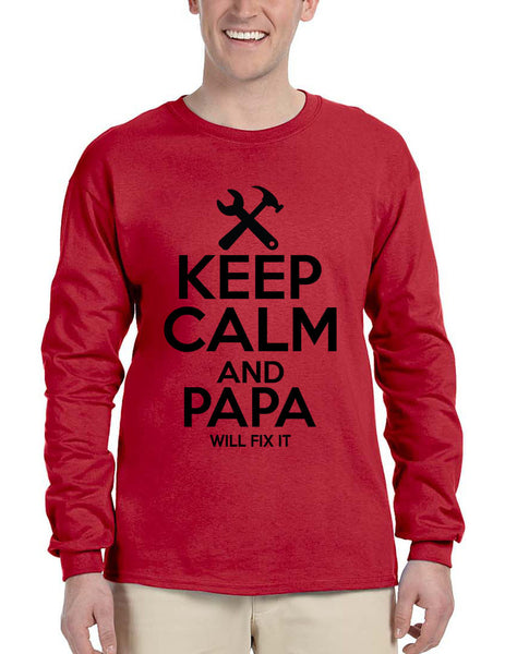 Men's Long Sleeve Keep Calm And Papa Will Fix It Grandpa Holiday Tee - ALLNTRENDSHOP - 3