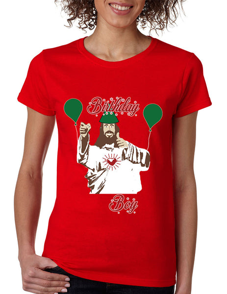 Women's T Shirt Birthday Boy Jesus Ugly Christmas Sweater