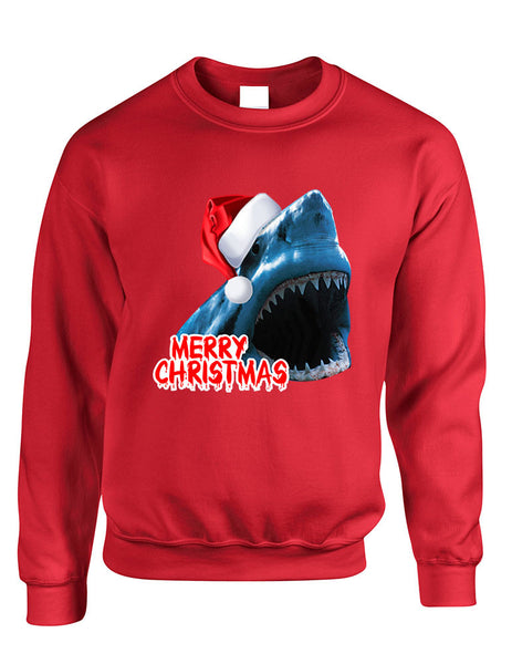 Adult Crewneck Santa Jaws Merry Christmas Ugly Xmas Funny Top - ALLNTRENDSHOP - 3