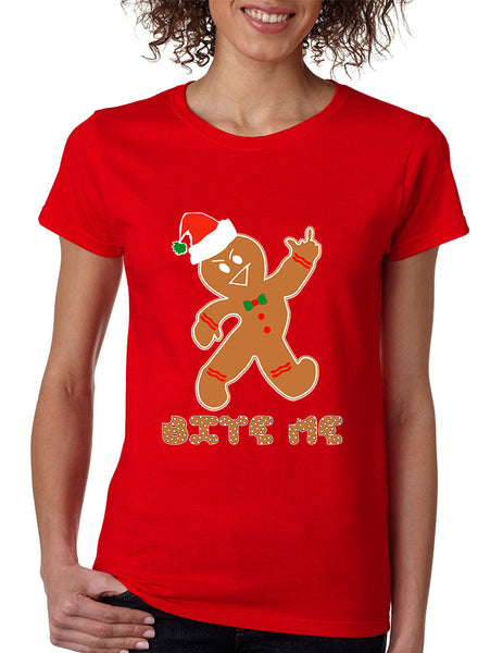 Women's T Shirt Bite Me Gingerbread Ugly Christmas Funny Cool Gift - ALLNTRENDSHOP - 2