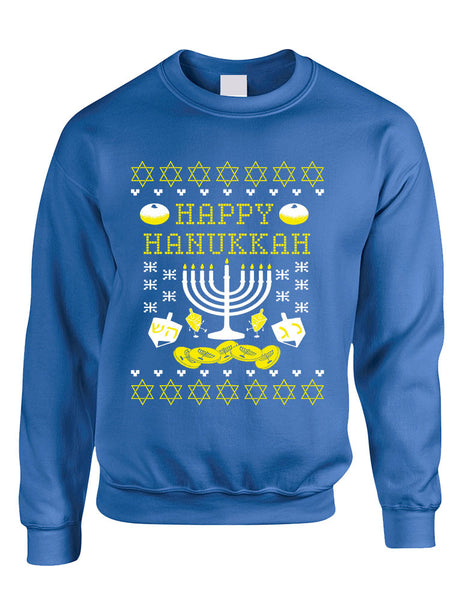 Adult Crewneck Happy Hanukkah Jewish Menorah Ugly Sweater - ALLNTRENDSHOP - 4