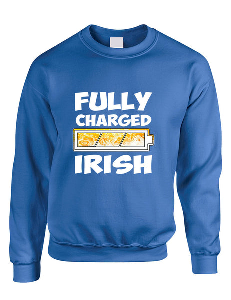 Adult Sweatshirt Fully Charged Irish St Patrick's Day Top - ALLNTRENDSHOP - 4