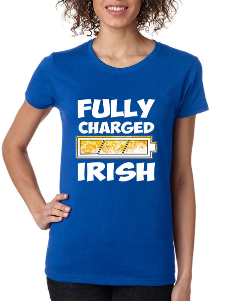 Women's T Shirt Fully Charged Irish St Patrick's Day Tee Fun - ALLNTRENDSHOP - 3