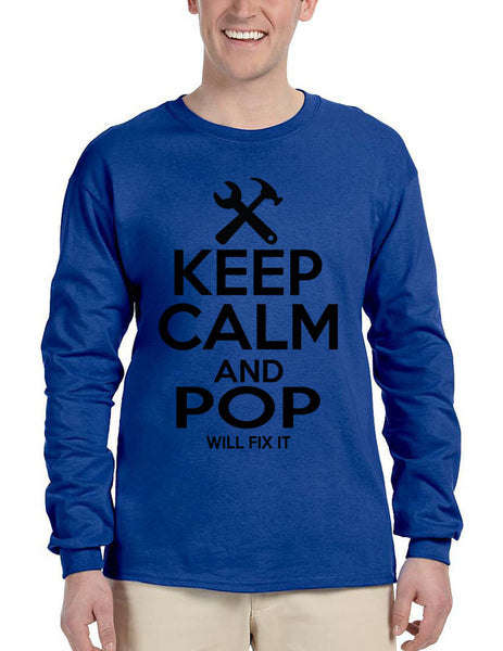Men's Long Sleeve Keep Calm And Pop Will Fix It Grandpa Holiday Tee - ALLNTRENDSHOP - 5