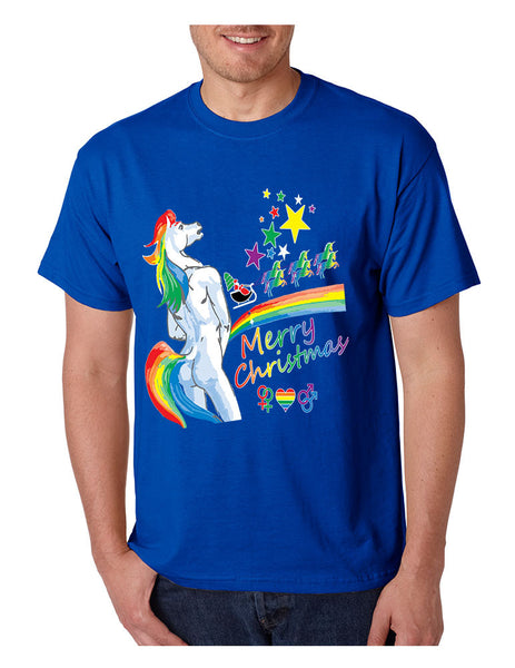 Men's T Shirt Unicorn Rainbow Gay Pride Ugly Christmas Sweater - ALLNTRENDSHOP - 4
