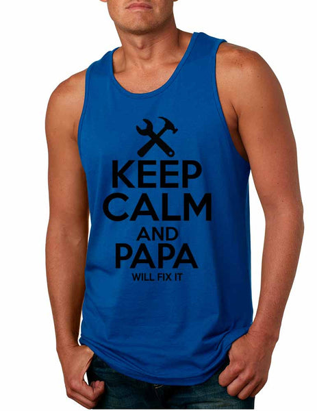 Men's Tank Top Keep Calm And Papa Will Fix It Gift For Grandpa Top - ALLNTRENDSHOP - 4