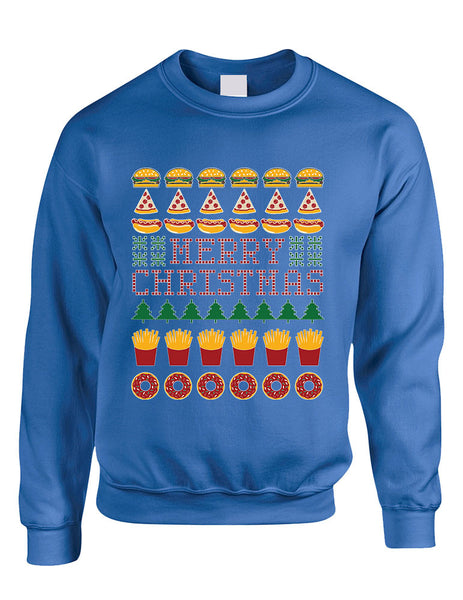 Adult Crewneck Junk Food Merry Christmas Ugly sweater Humor Top - ALLNTRENDSHOP - 3