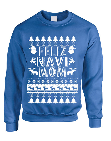 Adult Sweatshirt Feliz Navidad Ugly Xmas Cute Holiday Gift