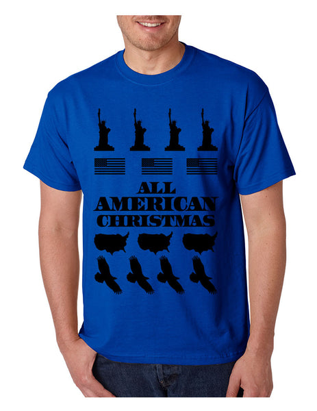 Men's T Shirt Merry American Christmas Ugly Sweater Love USA - ALLNTRENDSHOP - 3