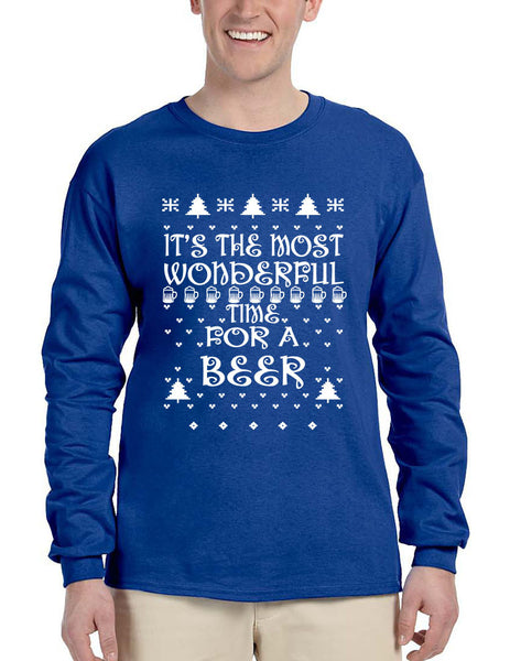 Men's Long Sleeve It's Most Wonderful Time for Beer Ugly Sweater - ALLNTRENDSHOP - 3