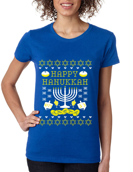 Women's T Shirt Happy Hanukkah Jewish Menorah Tee Shirt - ALLNTRENDSHOP - 4