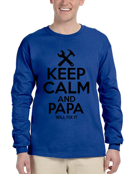 Men's Long Sleeve Keep Calm And Papa Will Fix It Grandpa Holiday Tee - ALLNTRENDSHOP - 2