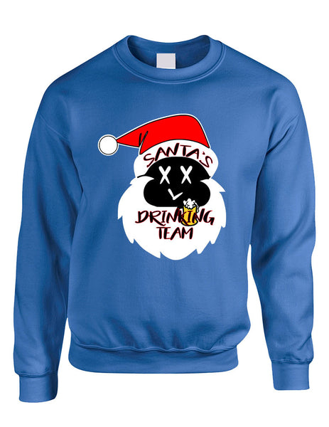 Adult Sweatshirt Santa's Drinking Team Fun Ugly Xmas Sweater - ALLNTRENDSHOP - 4