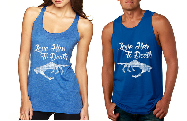 Love her Love him to death Couple Tanktops Valentines day - ALLNTRENDSHOP - 4