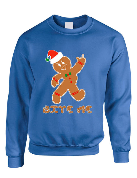 Adult Sweatshirt Bite Me Gingerbread Ugly Christmas Funny Top - ALLNTRENDSHOP - 3